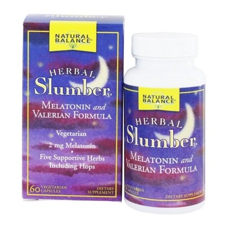 Natural Balance - Herbal pijamas melatonina y valeriana Formula - 60 Cápsulas