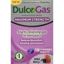 Paquete de 2 DulcoGas Maximum Strength antigas Wildberry 18 tabletas masticables Cada