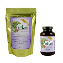 Herb Lore Vitex Orgánica (Sauzgatillo) Cápsulas y Fertilidad té Bundle para la Mujer