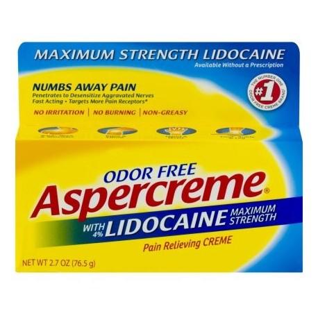 Aspercreme con lidocaína Maximum Strength aliviar el dolor Creme 2.7 OZ